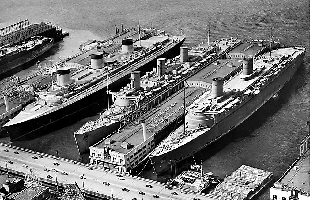SS Normandie, RMS Queen Mary and RMS Queen Elizabeth at New York March 1940