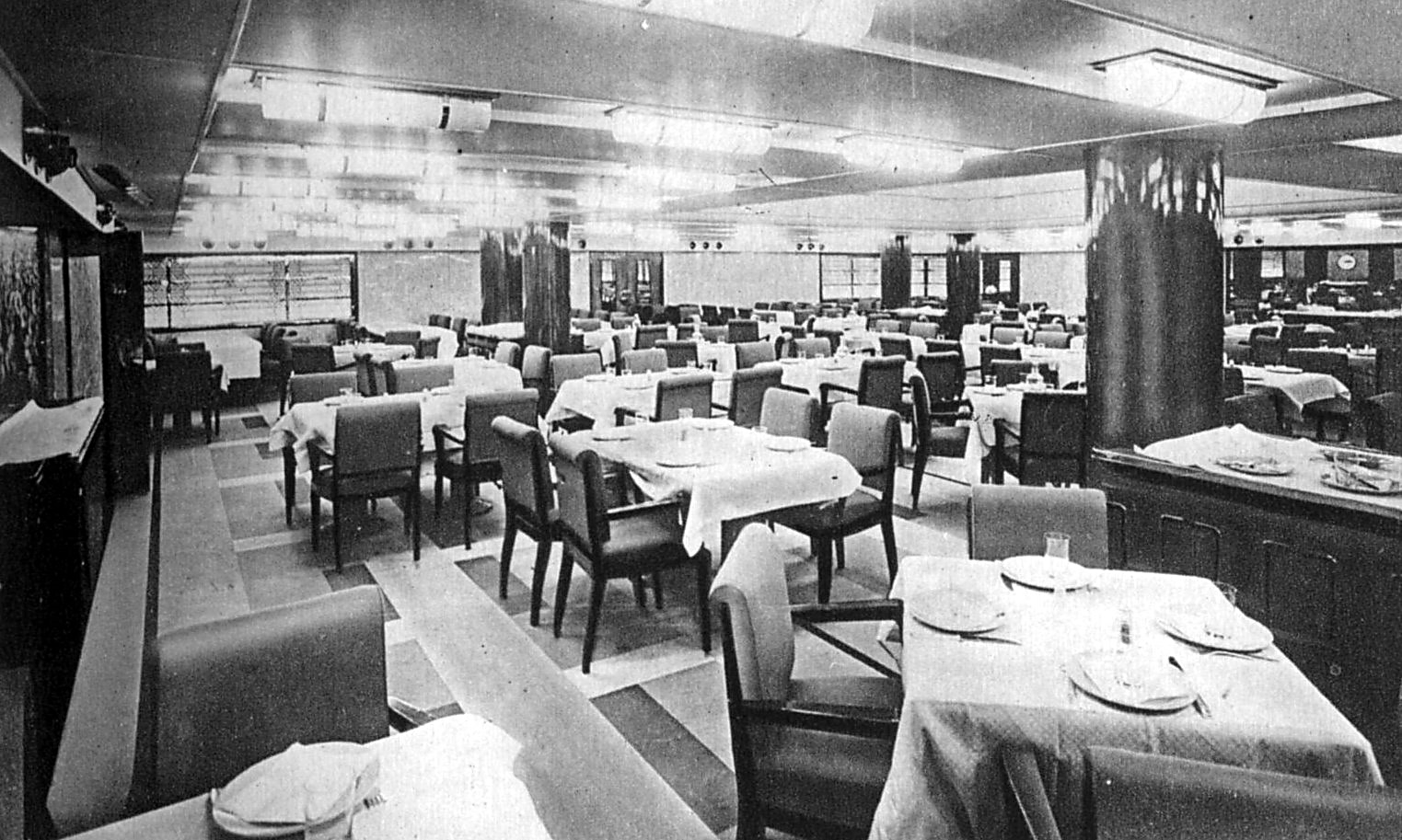 SS Normandie Third Class Dining Room
